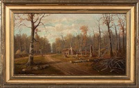 forest path with log cabin by william mckendree snyder