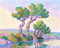 willows and cottonwoods by birger sandzen