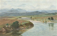 polela river near himeville, natal by cathcart william methven
