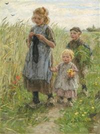 three children walking in a field by johann jan zoetelief tromp