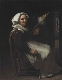 an old woman spinning by michael sweerts