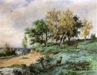 deux chevreuils dans le forêt by jean baptiste georges gassies