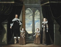 group portrait of an aristocratic family, full-length, before a draped curtain, in an interior, a park landscape beyond by wolfgang heimbach