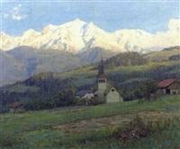 vue d'une église près de megève by angelo abrate