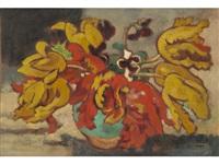 tulipes dans un vase vert by louis valtat