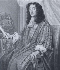 heneage finch, 1st earl of nottingham, wearing gold figured grey brocade robes over puffed white chemise and lace jabot, he holds a rolled document by george perfect harding