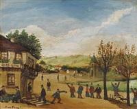 paysage animé devant le café léon by jean fous