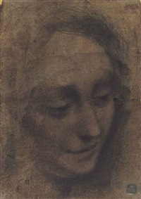 head of a woman looking down towards the right by bernardino luini