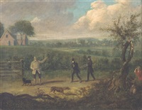 three hunting gentlemen and their dogs by dean wolstenholme the younger