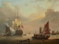 morning salute with fishing craft departing by george webster