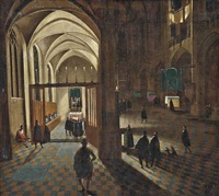 a gothic church interior with mass being held in a side chapel by hendrick van steenwyck the younger