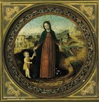 la vergine con bambino in un paesaggio by ambrogio da (il bergognone) fossano