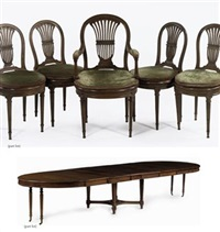 dining table (+ 24 dining chairs; 25 pieces) by georges jacob