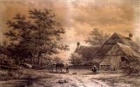 wood gatherers before a cottage by georgius heerebaart