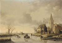 skaters in dutch landscape by joseph de groot
