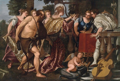 allegorische darstellung die verkörperung venedigs assistiert von herkules und den drei grazien krönt die personifikationen von baukunst und handel merkur by benedetto caliari