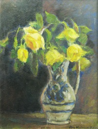 pot with yellow roses by vera veslovschi nitescu