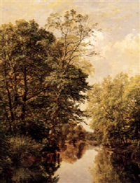 cattle watering by a river by william james ferguson