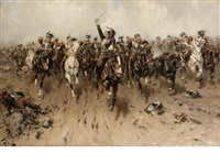 french cavalry charging by hermanus willem koekkoek