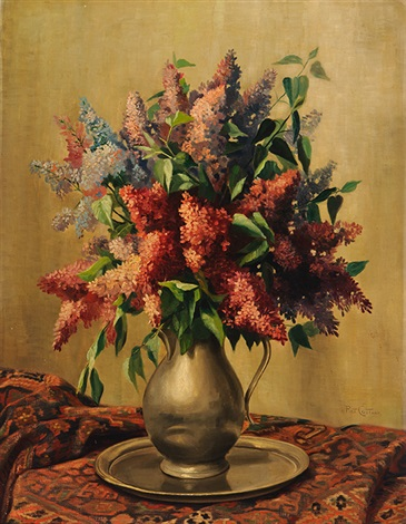 lilac in a tin vase by petrus johannes m piet cottaar