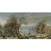 a view of the abbey of groenendael near brussels in winter by denis van alsloot