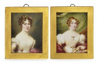 mary jane todd, née brydges, in white dress with gem-set brooches at corsage and waist, gold earrings, red shawl and green curtain background (+ 3 others; 4 works) by emma eleonora (eleanor) kendrick