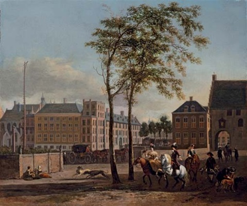 the plaats with the buitenhof and the gevangenpoort the hague with an elegant hawking party by gerrit adriaensz berckheyde