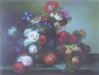 still life of flowers displayed on a ledge alongside a bowl of fruit by scott swanson