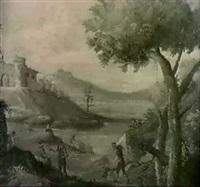 flusslandschaft mit einem gehoft und bauern by antonio cioci
