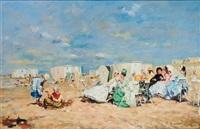 jeunes femmes et enfants à la plage by j. girardier