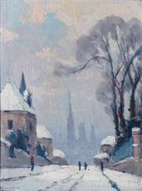 paysage de neige, bihorel, rue d'etancourt by narcisse henocque