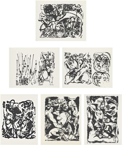 untitled portfolio set of 6 by jackson pollock