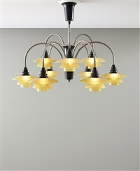 nine-armed cascade ceiling light, type 1/1 shades by poul henningsen