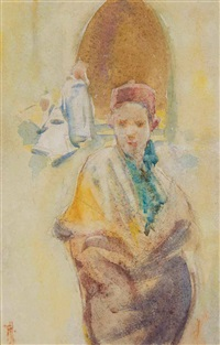 boy in fez & robe by frances mary hodgkins