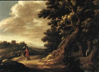 mary meeting elizabeth on a sandy road christ   blessing an infant by jacques fierens