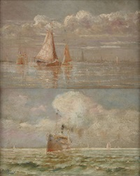 mer ensoleillée (+ l'escaut devant anvers; 2 works) by charles louis langenbick