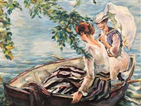 two ladies in a boat by edward cucuel