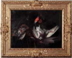 trophée de chasse sur un entablement bécasses bouvreuils et poule faisane by william gowe ferguson