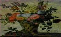 cesto con fiori e ramoscello con frutti in primo piano by benjon