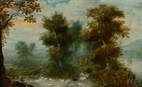 sous-bois longeant une rivière avec un pâtre et ses moutons by jasper van der laanen