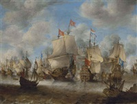 le navire brederode à la bataille de sheveningen by jan abrahamsz beerstraten