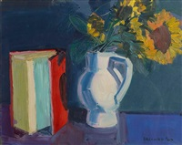 red book and sunflowers by brian ballard