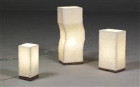 nod lamp, standard lamp and mini lamp (3 works from sugar lamp-series) by julius van der vaart