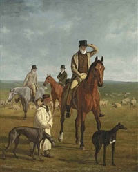 lord rivers out coursing on newmarket heath by jacques-laurent agasse