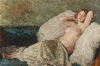bare young woman reclining by julius paulsen