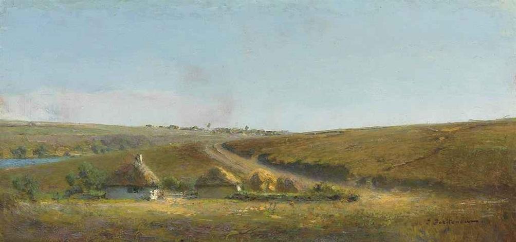 lentrée du côté du village à la propriété matrionovka by ivan pavlovich pokhitonov