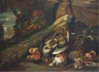composition aux perdreaux, paon et fruits by frans snyders