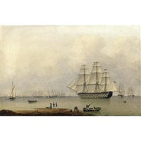 h.m.s. queen sailing out of portsmouth harbour, elegant figures in the foreground by john ward of hull
