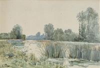 paysage aux roseaux by auguste allongé