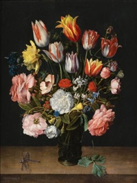a still life of tulips, roses, bluebells, daffodils, a peony and other flowers in a glass roemer on a wooden ledge with a dragonfly by jacob van hulsdonck